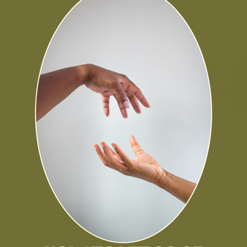 graphic with photo of hands symbolically letting go
